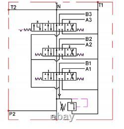 1x FLOATING 3 Spool Hydraulic Directional Control Valve JOYSTICK 11gpm 40L 3 xDA