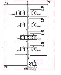 1x FLOATING 4 Spool Hydraulic Directional Control Valve JOYSTICK 11gpm 40L