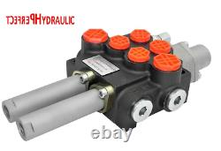 2 Spool Hydraulic Directional Control Valve 21gpm 80L cable kit 2x double acting