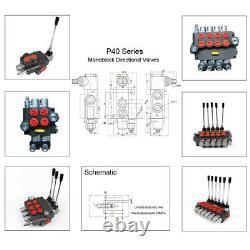3 Bank Hydraulic Directional Control Valve Lever Monoblock Valves 11 GPM 40L/min