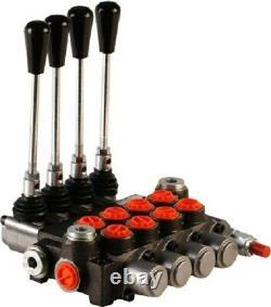 4 Bank Hydraulic Monoblock Directional Spool Valve 1/2 Bsp 80 L/m 300 Bar