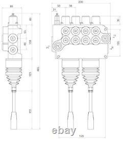 4 Spool Hydraulic Directional Control Valve 2x JOYSTICK 21gpm 80L 4x DA Double