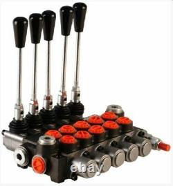 5 Bank Hydraulic Monoblock Directional Spool Valve 1/2 Bsp 80 L/m 300 Bar