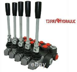 5 Spool Hydraulic Directional Control Valve 11gpm 40L 1x Single 4x Double Acting