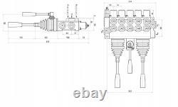 5 Spool Hydraulic Directional Valve 2x JOYSTICK 11gpm 40L 4x Double 1x Single