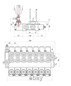7 BANK Hydraulic Directional Control Valve 11gpm 40L 1x Single 6x Double Acting