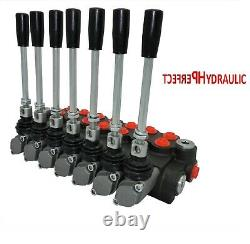 7 Bank Hydraulic Directional Control Valve 11gpm 40L Double Acting Cylinder DA
