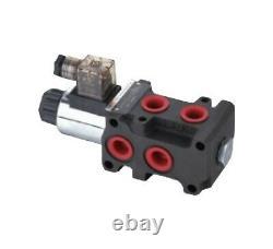 Flowfit 6 Way Hydraulic Solenoid Diverter, 3/8 BSP Port Size, 12V DC, 50 L/Min