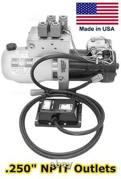 Hydraulic DC Power Unit 4 & 3 Way Release Valve Side Mount Triple Filter