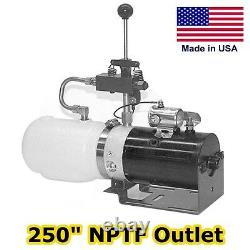 Hydraulic DC Power Unit Manual 3 Way Valve 1.36 Qt Pump, Motor, Reservoir