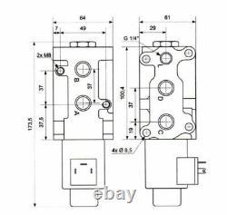 Hydraulic Diverter Tractor Third Service Valve 6 way 12 volt 3/8 bsp 50 L/Min