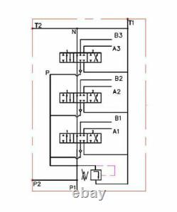 Hydraulic Monoblock Directional Control Valve, 3 Spool, Joystick Handle, 11 GPM