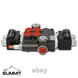 Hydraulic Monoblock Solenoid Directional Control Valve 2 Spool, 21 GPM with Switch