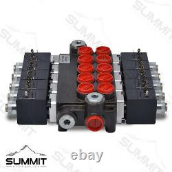Hydraulic Monoblock Solenoid Directional Control Valve, 5 Spool, 13 GPM, 12V DC