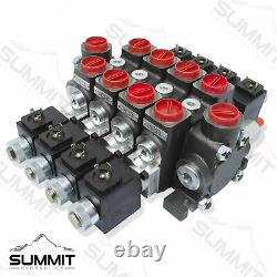 Hydraulic Solenoid Directional Control Valve, Double Acting, 4 Spool, 27 GPM